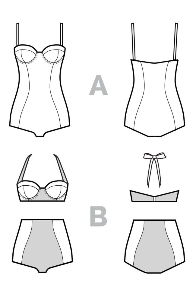 Line drawings of Sophie Swimsuit.