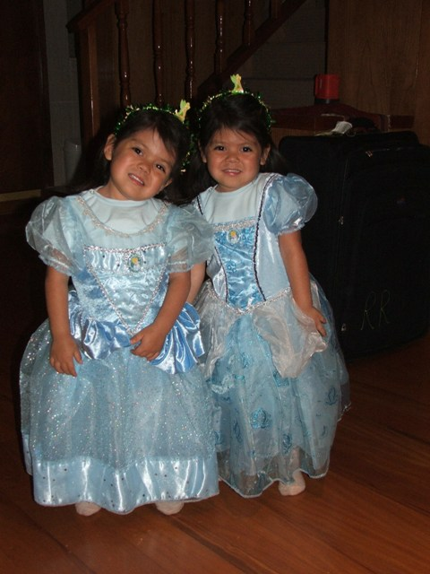 in their new princess dresses