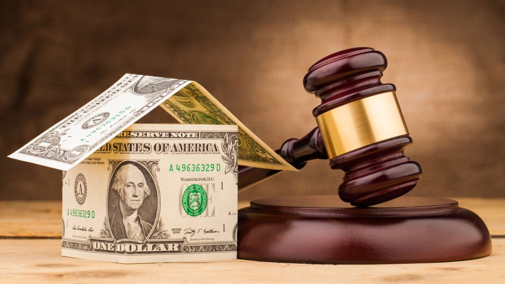 Bankruptcy money with gavel