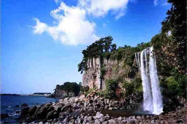 waterfall, jeongbang, jeju-do