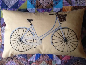 two wheels good! - hand embroidery on pure cotton