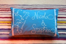 Nicola and Stephen - hand embroidery on cotton