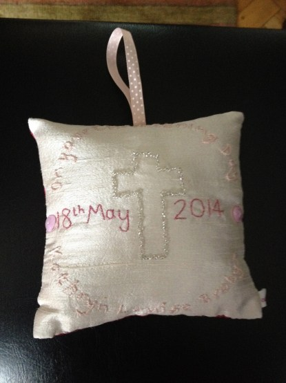 christening day - hand embroidery and beadwork on silk
