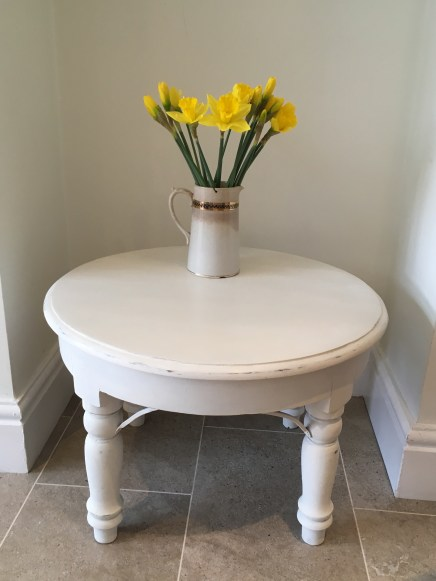 Side table painted in Old White and lightly distressed