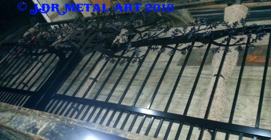 Knoxville TN driveway gates oak theme 2 by JDR Metal Art