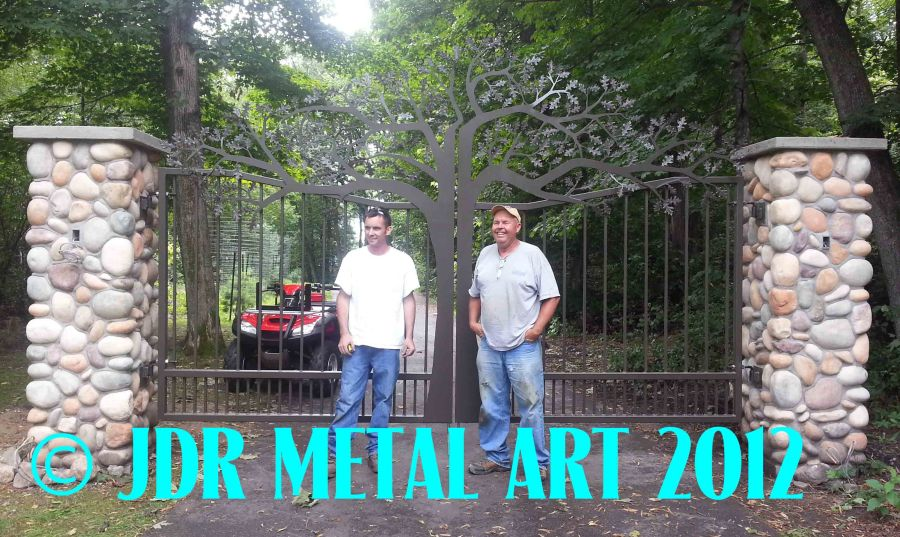 Oak Tree Driveway Gates Plasma Cut by JDR Metal Art