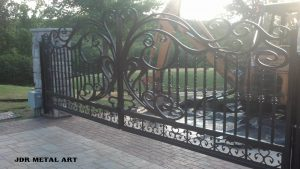 Wrought iron scroll driveway gates by JDR Metal Art