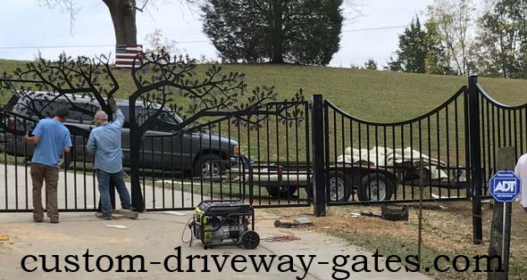Louisville, Kentucky ornamental entry gate being installed.