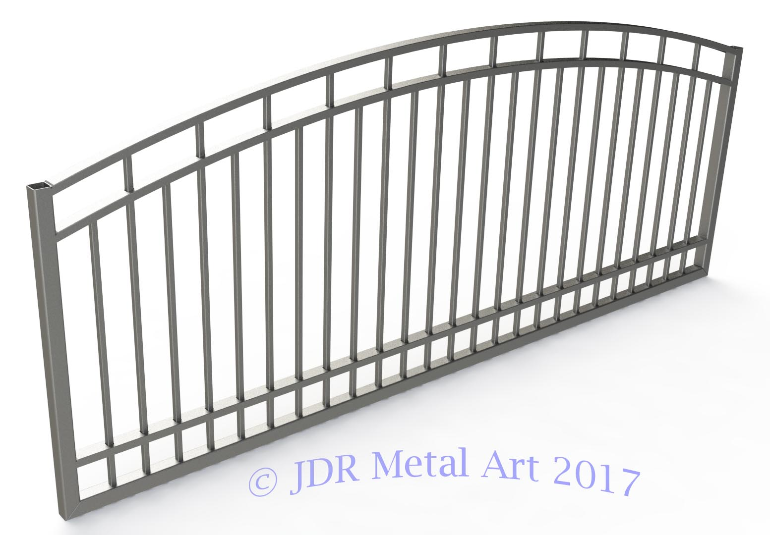 ten foot driveway gate single swing arched with pickets
