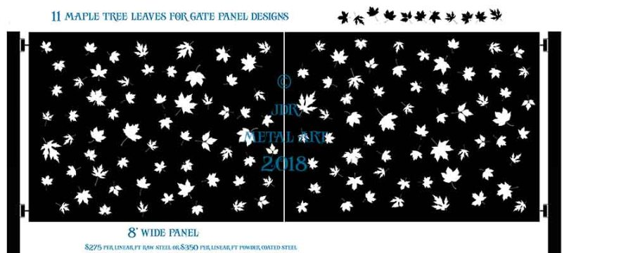 Driveway gates with maple tree leaves and leafs that were plasma cut by JDR Metal Art.