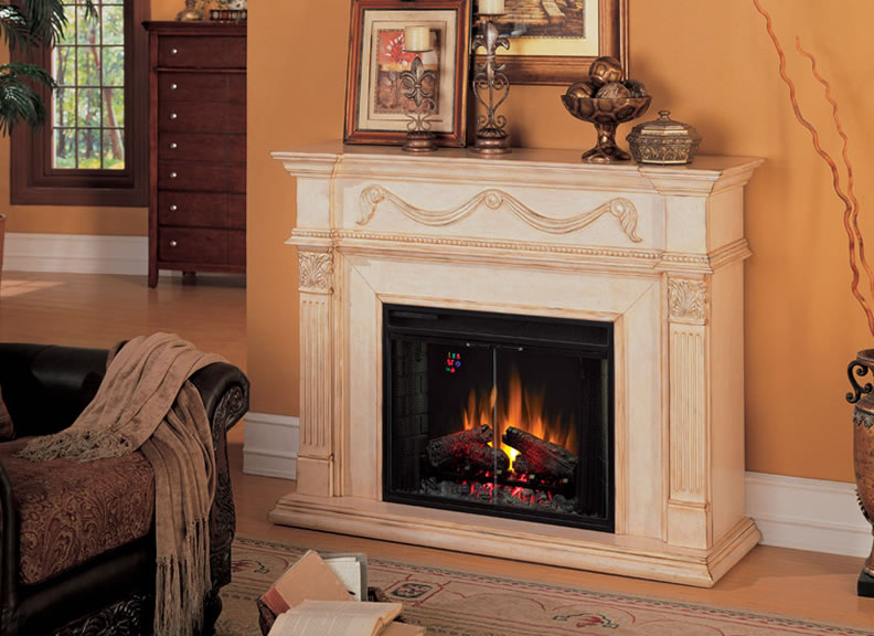 Heater electric insert in fake fireplace on CustomFireplace Quality electric gas and wood