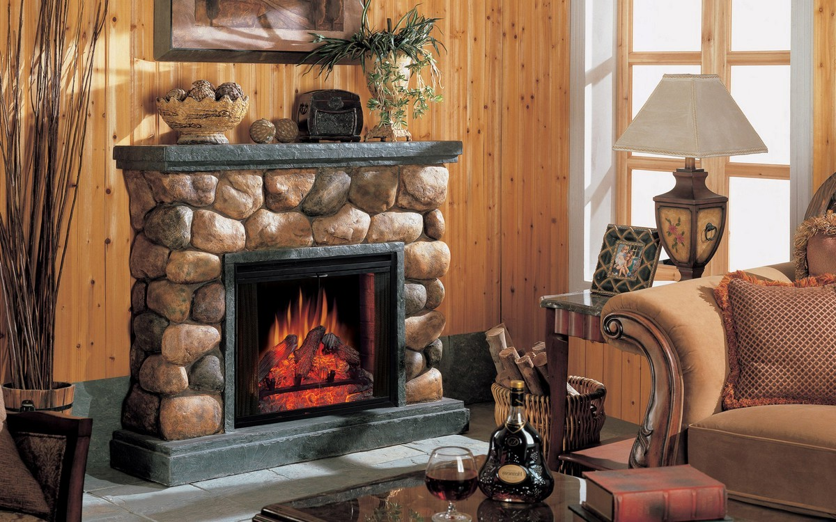 Faux river stone fireplace mantel on CustomFireplace Quality electric gas and wood fireplaces