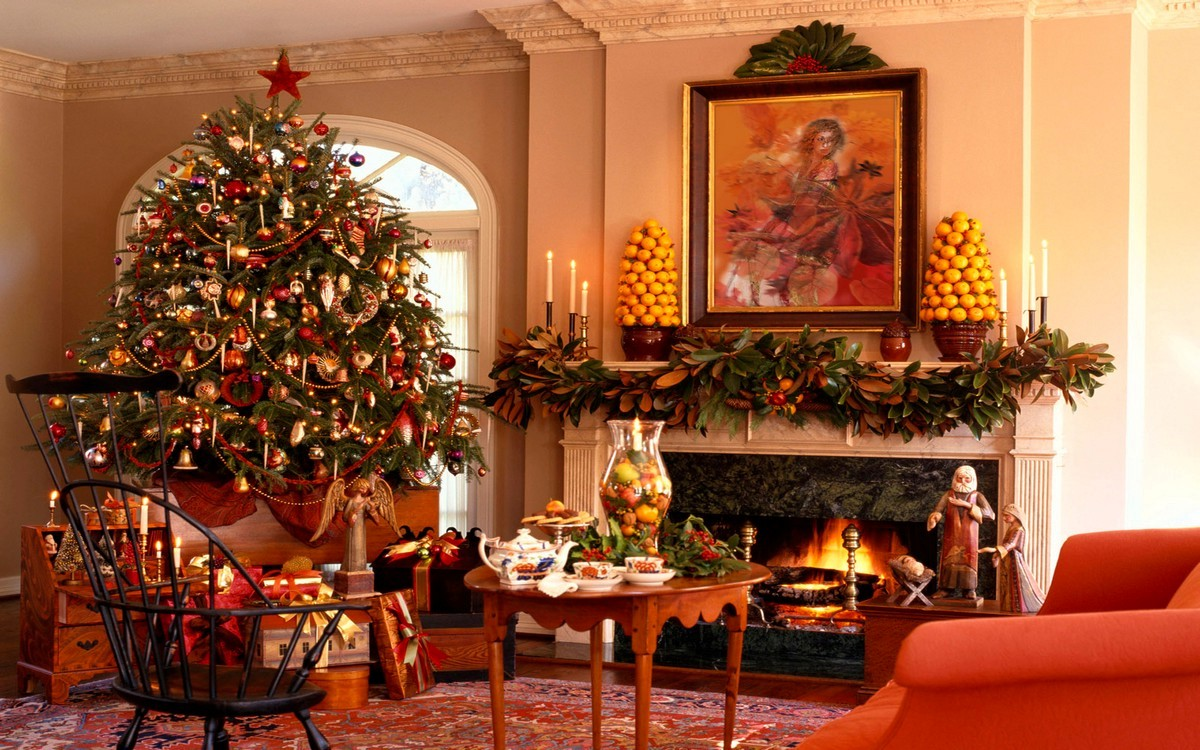Christmas fireplace mantel on CustomFireplace Quality electric gas and wood fireplaces and