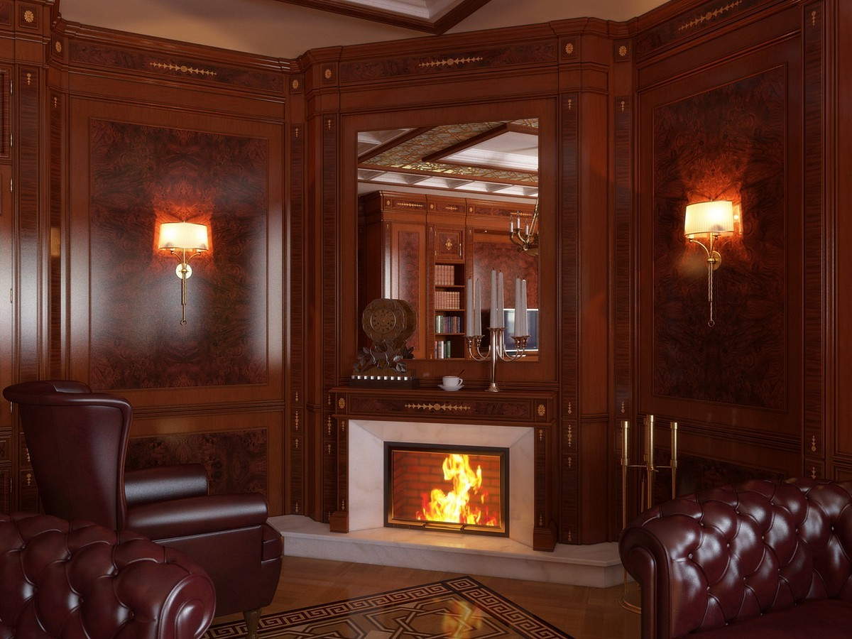 Wooden Mantel For Gas Fireplace On Custom Fireplace