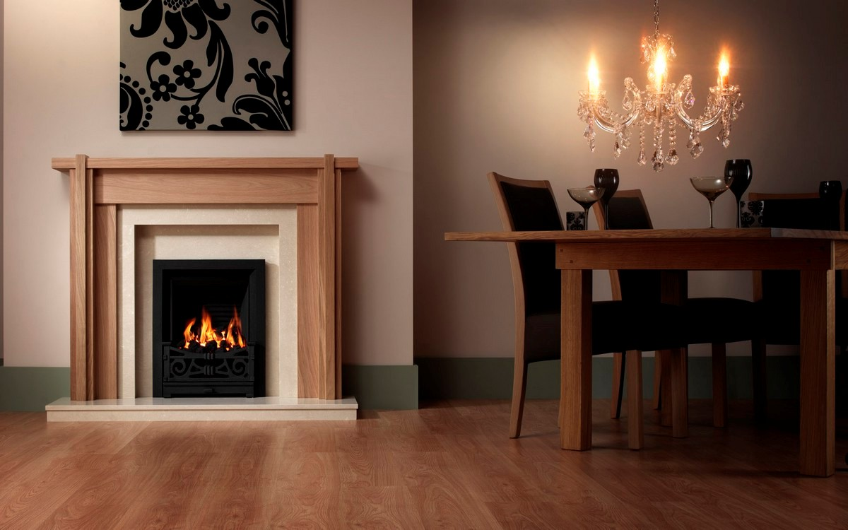 Gas fireplace cherry corner mantel on CustomFireplace