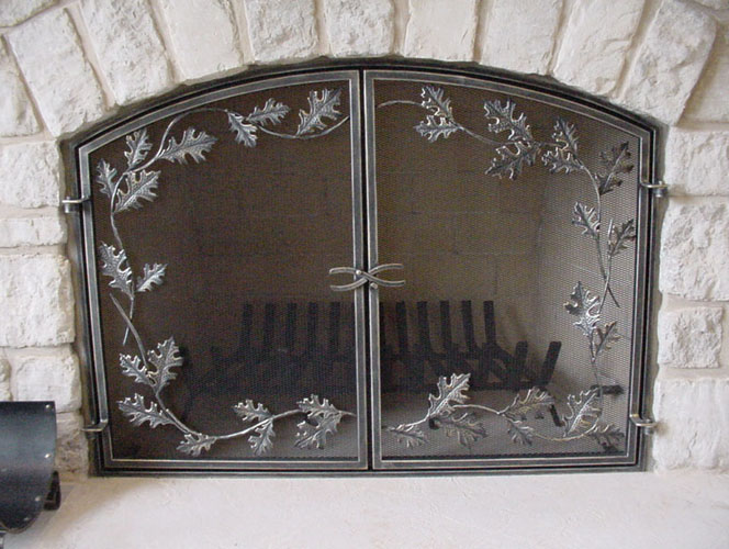 Folding fireplace screen on CustomFireplace Quality electric gas and wood fireplaces and stoves