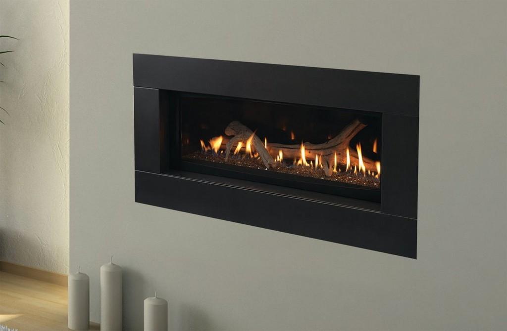 Corner gas fireplace on Custom
