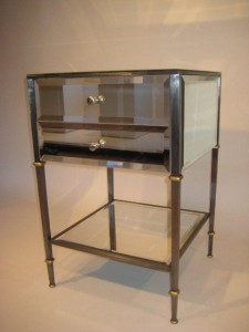 Mirrored Night Stand Steel with Beveled Mirror & Gold Leaf Accent