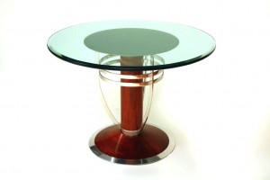 Polished Stainless With Mahogany Table