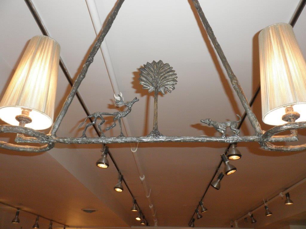 Giacometti Bronze Chandelier Detail