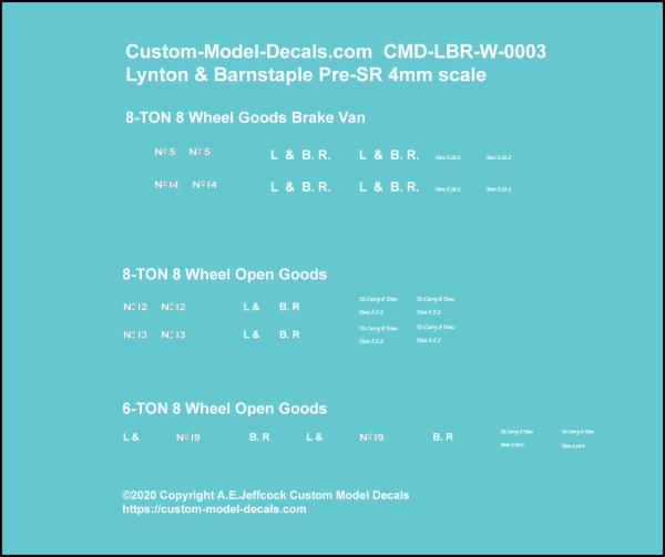 Lynton & Barnstaple 8 Ton closed & open wagons CMD-LBR-W-0003