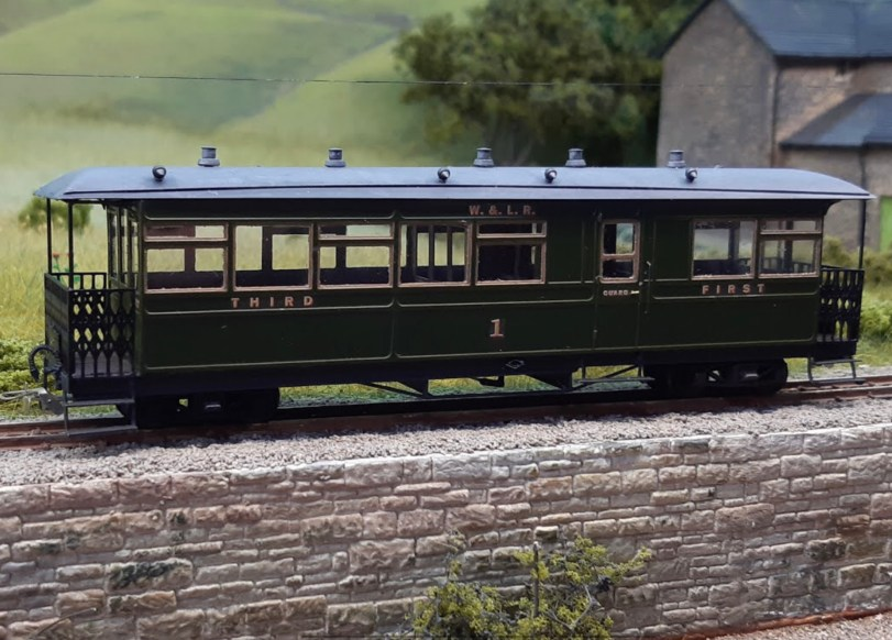 Welshpool & Llanfair Railway 009 scale coaches by Stuart Taylor, decals by Custom Model Decals
