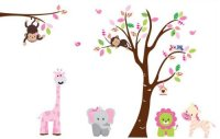 Fungoo large colorful tree & jungle animals wall sticker ...