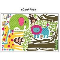 Colorful Tree & Jungle Animals Wall Sticker Nursery