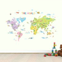 DW-1203 Multicoloured World Map Wall Stickers/Kids wall ...