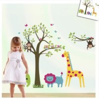 Discountfan Large Colorful Tree & Jungle Animals Wall