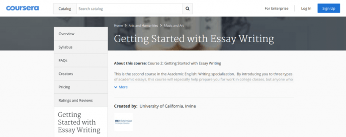 Essay writing coursera website screenshot