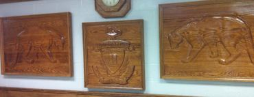 "2006 - 'Cougars & Crest' - 3 panels - 3""x3'x6' & 3""x3'x3' - Red Oak-Acrylic"