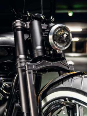 Nicht nur die Springergabel, auch das gegossene Lampengehäuse ist ein Custom-Teil von Thunderbike