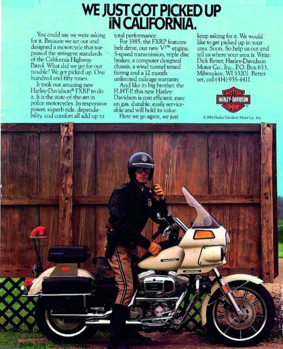 1984 stattete Harley-Davidson große Teile der Motorradpolizei mit der FXRP aus, die den Zusatz »Police Bike« bekam, allerdings nur für die Staaten