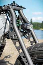 Die Newschool-Girdergabel gibt dem Bike eine ungewöhnliche und gewöhnungsbedürftige, aber auch interessante Optik