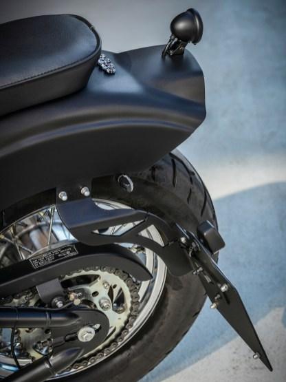 Man muss zweimal hinschauen: Der Kennzeichenhalter stammt von Thunderbike und ist am Heckfender, beziehungsweise dem Hilfsrahmen darunter, befestigt