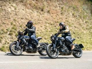 Mit dem 19-Zoll-Vorderrad und Dunlop-Bereifung wirkt die FTR zwar erst handlich, mit zunehmendem Tempo aber bekommt sie einen steifen Nacken – und du mit ihr