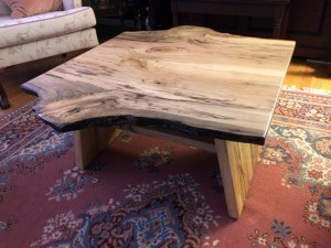 Magnolia wood coffee table Evan Wittels live natural edge