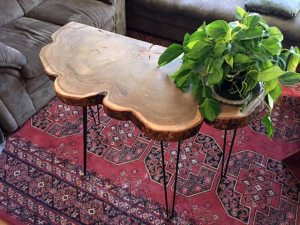 Red Maple wood hall table metal pin legs Evan Wittels