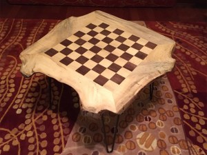 Live edge magnolia walnut wood chessboard coffee table Evan Wittels