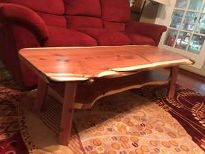 cedar coffe table in living area