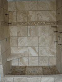 Natural Stone Walk in Shower and Floor