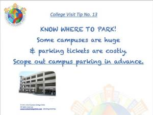 Know where to park when visiting colleges