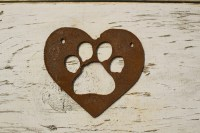 Thick Rusty Metal Paw Print  Rustic Metal Letters & Wall Art