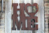 Rusty Tin Home w/ State Cutout  Rustic Metal Letters ...