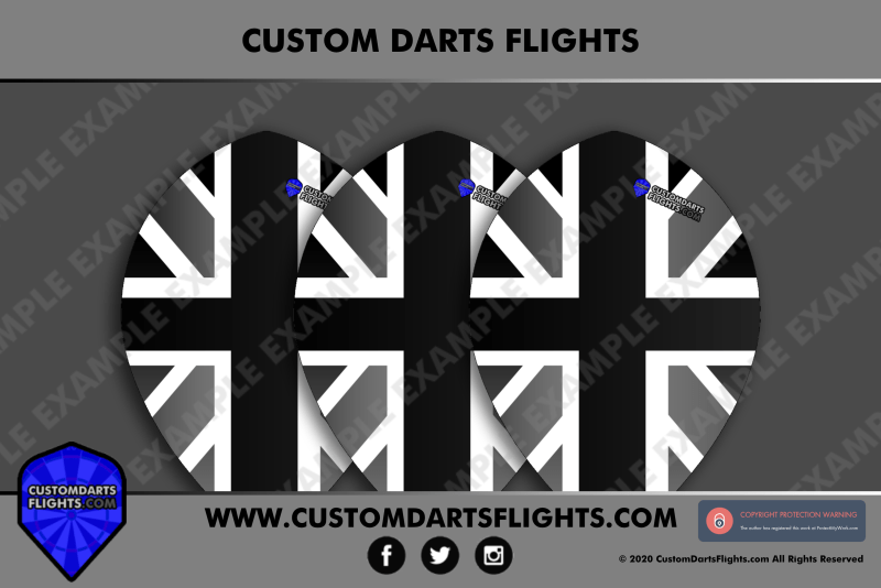 Custom Darts Flights - Union Jack Black and White Pear Darts Flights