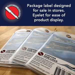package label designed for sale in stores. Eyelet for ease of product display.