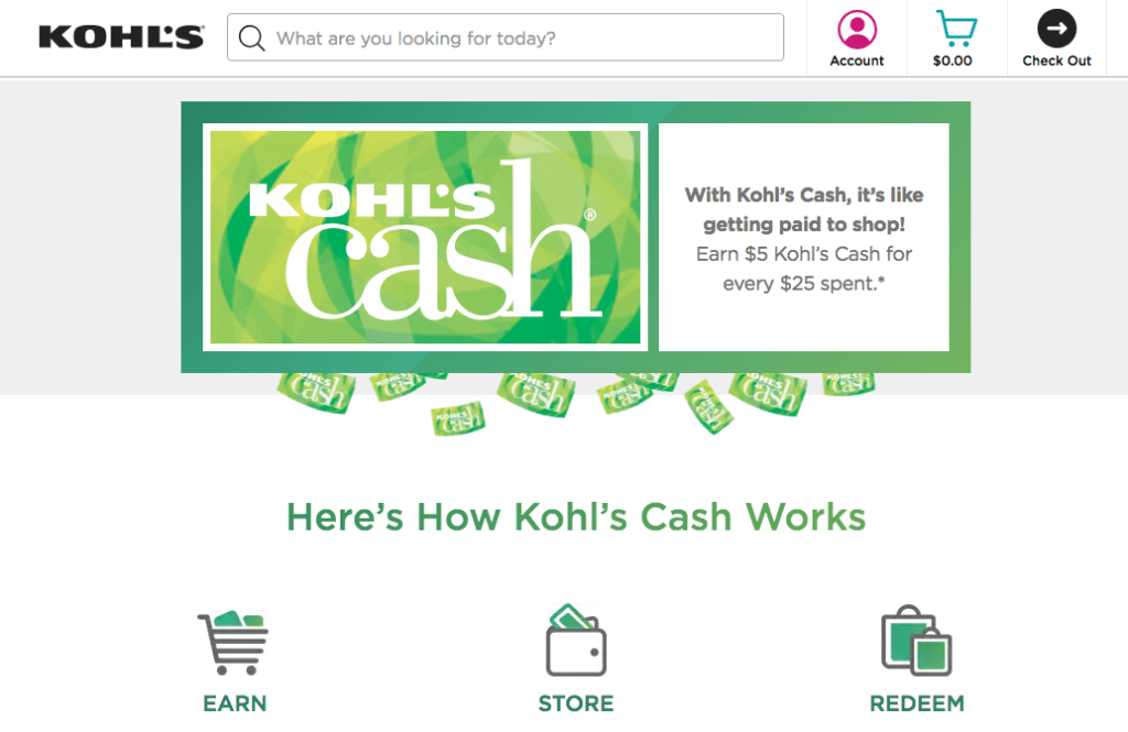 Kohl's average order value cashback rewards