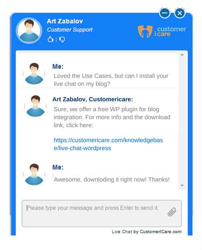 The live chat conversation