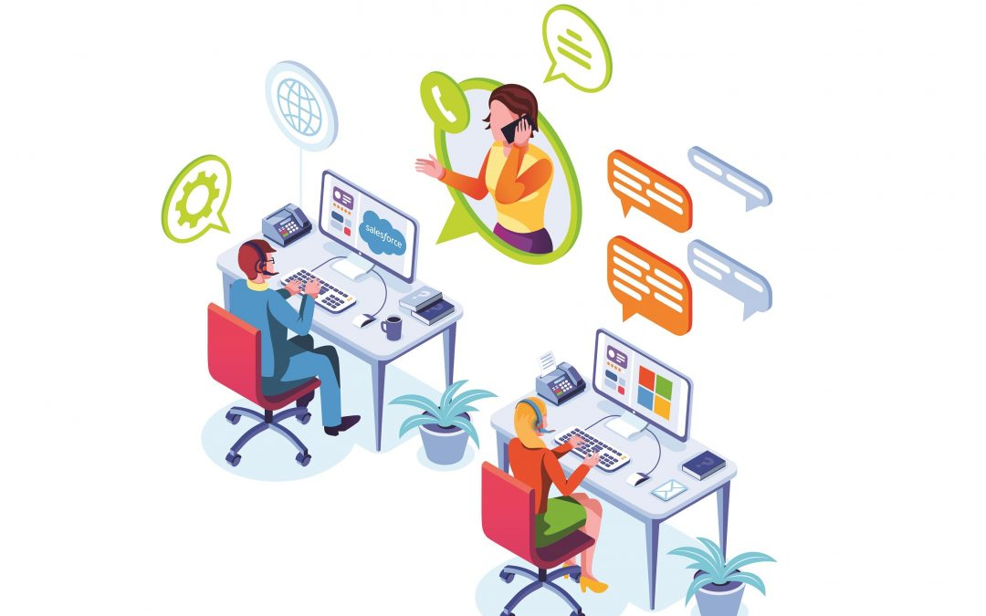 Illustration of customer service department helping a customer with issue